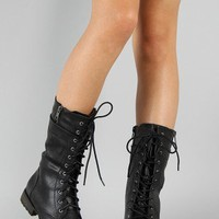 Denver-18 Lace Up Military Mid Calf Boot