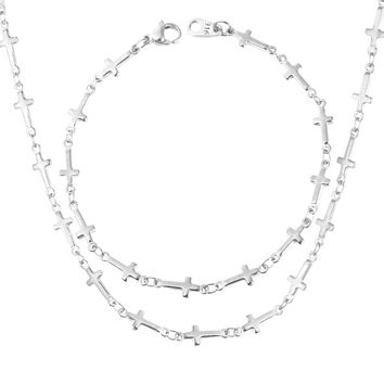 High Quality Cross Necklace Set, 316L Stainless Steel Necklace/Bracelet