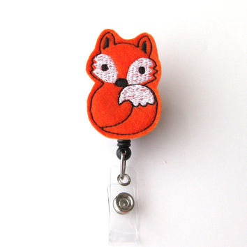 Orange Fox - Animal Badge Reels - Peds Badge Clip - Cute Name Badge Holder - Unique Badge Holder - Felt Badge Reel - RN Badge - BadgeBlooms