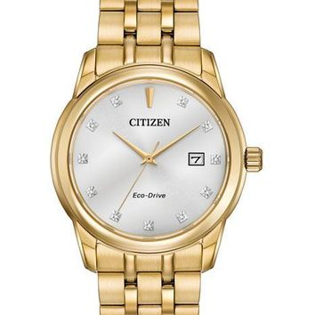 Citizen Eco-Drive Mens Diamond Watch - Gold-Tone - Bracelet - Date - 100m