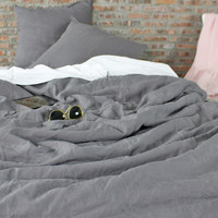 Linen Duvet Cover Lead Gray
