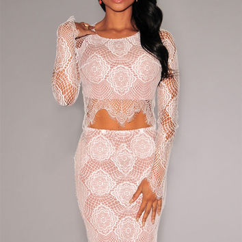 White Sheer Long Sleeves Lace Skirt Set