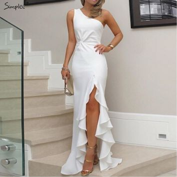 Simplee Sexy evening party dress Plus size one shoulder ruched ruffled bodycon dress Elegant ladies solid maxi dress vestidos