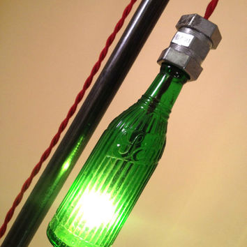 Pendant Floor Lamp - Vintage Soda Bottle Lamp - Black Iron Pipe