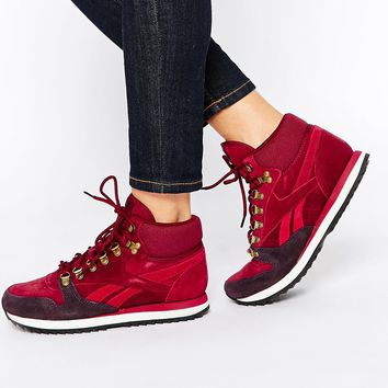 Reebok Leather Winterized Wine High Top Trainers