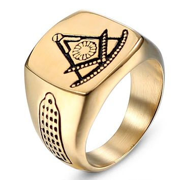 Square Compass Past Master Gold Tone Masonic Ring