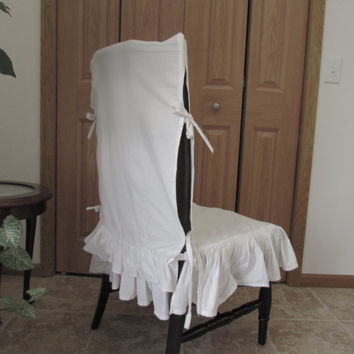 SALE White Ruffle Chair Cover/seat cover/Ruffle covers/white linen cover.