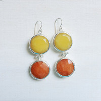 LARGE dangle long  DUAL orange and  sunshine yellow gemstone earringssilver gemstone earrings Israel jewelry