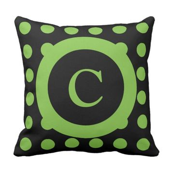 Personalized black and lime green polka dots throw pillow