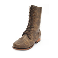 DISTRESSED LACE-UP COMBAT BOOTIE