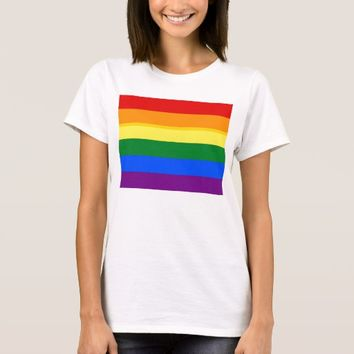 Women T Shirt with LGBT Rainbow Flag