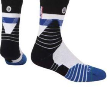 Stance Basketball On Court NBA Crew Cap Blue Men Socks Large 9-12 Team Issue $24