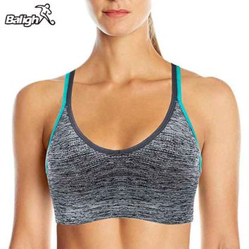 Women Strappy Back Sports Bra Wireless Low Support Padded Yoga Bra Contrast Blue White For Small Chest Cute Crop Tops