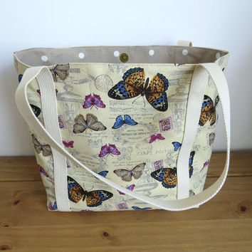 Re-usable Shopping Bag, Fabric Tote Bag, Women's Shoulder Bag, Knitting  or Project Bag, Gift For Mum, Butterfly Bag, Gift For Her
