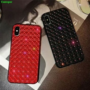 Luxury Diamond Case For iphone X Bling Shining Ripple Cover For iPhone 6 6S iphone 7 8 Plus Rhinestone Soft TPU Phone Back Funda