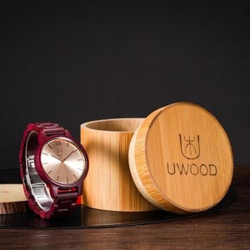 2016 Luxury Brand UWOOD 3002A Purple Sandal Wooden Watches Mens wood watch Analog Fashion Casual