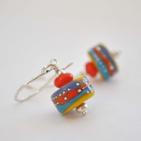 Colorful Earrings, Lampwork Earrings, Glass Bead Earrings, Yellow Earrings, Orange Earrings