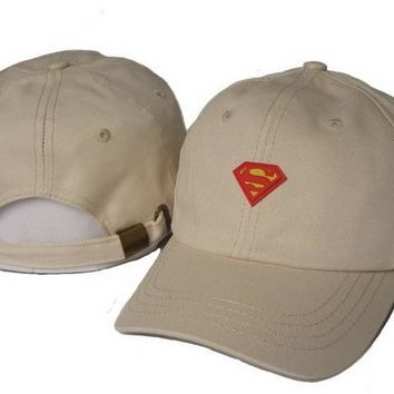 Khaki Superman Embroidered Baseball Cap Hat