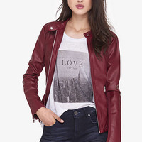Seamed Moto (minus The) Leather Jacket from EXPRESS
