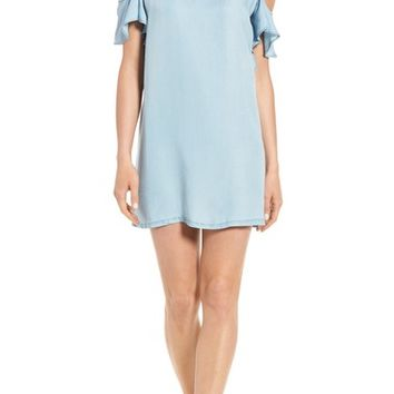 Billy T Embellished Cold Shoulder Chambray Shift Dress | Nordstrom