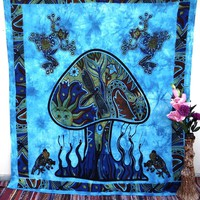 Blue Psychedelic Dancing Mushroom Tapestry Mandala Wall Decor Hanging
