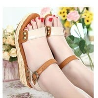 Casual Hawaii Style Straw Plaited Platform Rivets Embellished Sandals Brown, Buy Casual Hawaii Style Straw Plaited Platform Rivets Embellished Sandals Brown with cheapest price|wholesale-dress.net