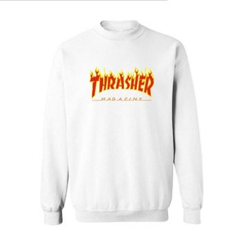 Fall and Winter Thrasher Flame Skateboard Tide Death Hip Hop West Coast Harajuku cotton round neck sweater Red letters-2