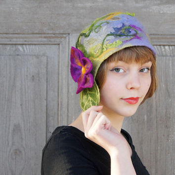 Unique felted cloche hat, retro style hat, green and lavender with purple flower and green leaves. OOAK