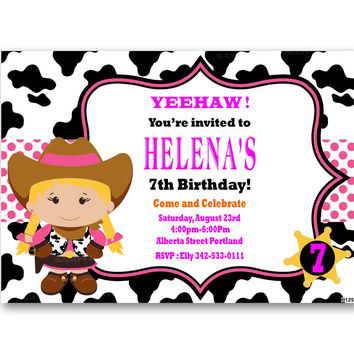 Cowgirl Kids Birthday Invitation Party Design