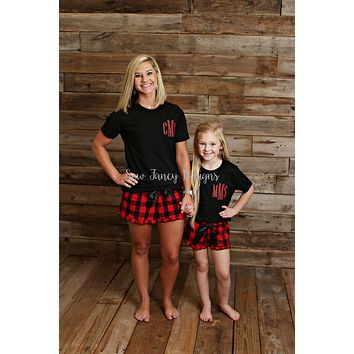 Christmas Pajamas - Black Shirt - Buffalo Plaid/Polka Dot Shorts