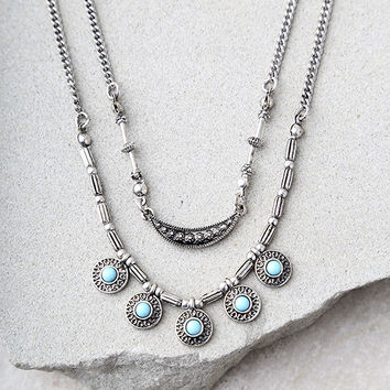 Nature's Bounty Turquoise and Silver Layered Necklace