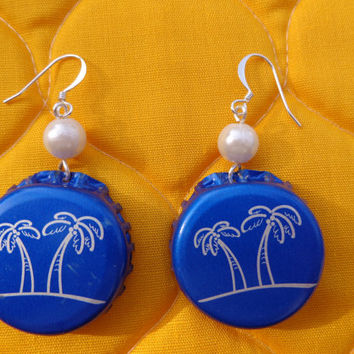 Blue Palm Trees Beer Bottle Cap: Blue Bottle Cap Earrings with Palm Trees, Pearl Bead and Silver Wire