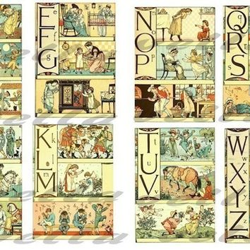 Antique Alphabet Letters picture book childrens classic ART 2 digital download COLLAGE SHEETs 4 X 5 inch  IMAGES