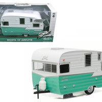 Shasta Airflyte 15' Camper Trailer Green for 1-24 Scale Model Cars and Trucks 1-24 Diecast Model by Greenlight