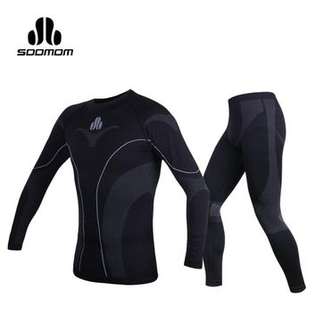 SOOMOM Mens Sport Thermal Underwear Sets Warm Compression Quick-dry Ski Hiking Cycling Base Layers Fleece Pants Bicycle Clothing