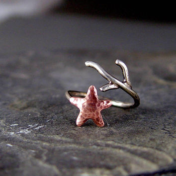 Starfish Coral Adjustable Ring Silver and Copper by HapaGirls