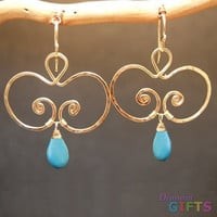 "Hammered swirls with turquoise, 1-3/4"" Earring Gold Or Silver"