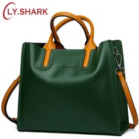 LY.SHARK Genuine Leather Bag Ladies Handbag Women Shoulder Bag Women Messenger Bag Female Crossbody Bag Tote Tablets Big 2018