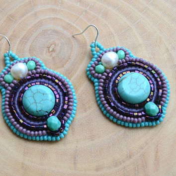 Bead Embroidery Turquoise Purple Dangle Earrings Bead Embroidered Earrings Seed Bead Earrings Beadwork Earrings Bead Embroidered Jewelry