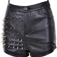 ROMWE | Half Spikes Black Vinyl Shorts, The Latest Street Fashion