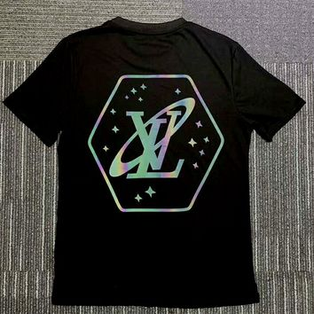 LV 2019 new colorful reflective logo printing round neck half sleeve T-shirt Black