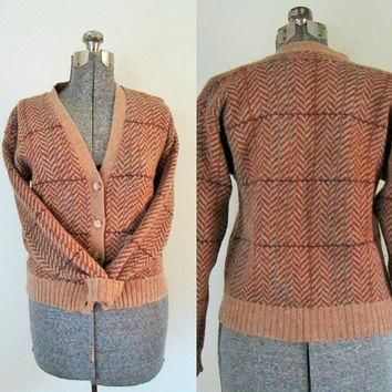 Ralph Lauren Vintage Cardigan Sweater / Herringbone Tweed Wool Button Front