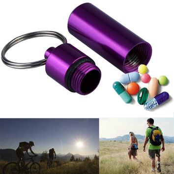 2017 Aluminum Alloy Outdoor First Aid Travel Pill Cases Medicine Box Small Gallipot Cartridge Keychain Survival Practical Kits