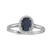 10kt White Gold 7/5mm Oval Sapphire and Diamond Ring