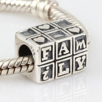 European charm sterling silver bead family