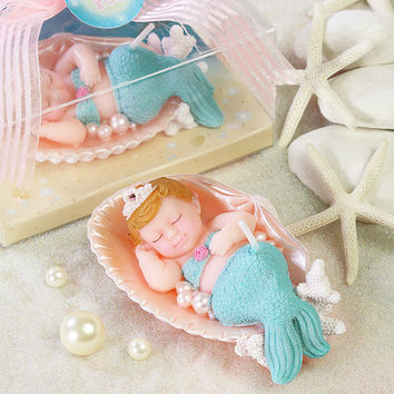 New Arrival Cute Birthday Party Cake Decorative Candle Mermaid / Bee Pattern Baby Shower Smookless Candle Party Supplies