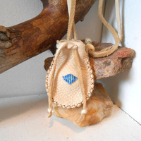 Beaded Medicine Bag, Small Leather Pouch, Native American, Handmade, Amulet Pouch, Hippie, Boho, Gift Idea, Drawstring Pouch, Blue Beaded