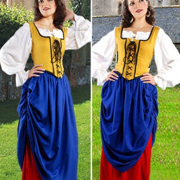 Double Layer Medieval Long Skirt Blue Red