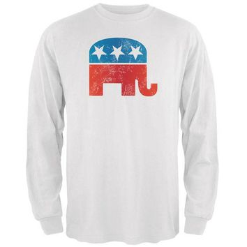 PEAPGQ9 Distressed Republican Elephant Logo White Adult Long Sleeve T-Shirt