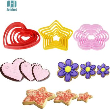 6pcs/set heart stars flower shape 3D plastic cake mold bread/toast/sushi/rice mold cookie cutter